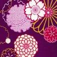 画像3: 卒業式の着物 小紋柄の二尺袖 単品 ショート丈 フリーサイズ【紫、菊と桜・雪輪】 (3)