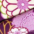 画像4: 卒業式の着物 小紋柄の二尺袖 単品 ショート丈 フリーサイズ【紫、菊と桜・雪輪】 (4)