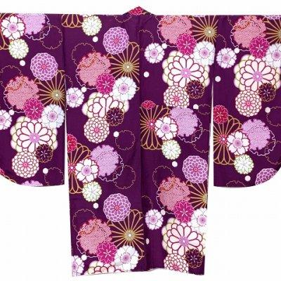画像5: 卒業式の着物 小紋柄の二尺袖 単品 ショート丈 フリーサイズ【紫、菊と桜・雪輪】