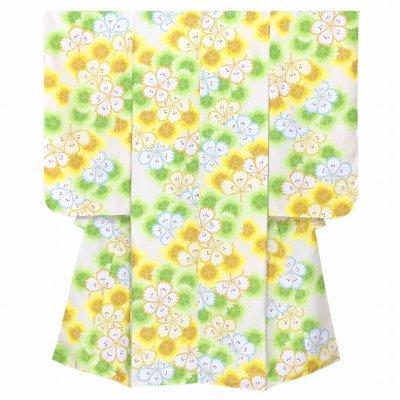 画像2: 七五三 着物 7歳 2021年新作 女の子用 小紋柄 四つ身 子供着物(合繊) 襦袢付き【黄色系、なでしこ重ね】