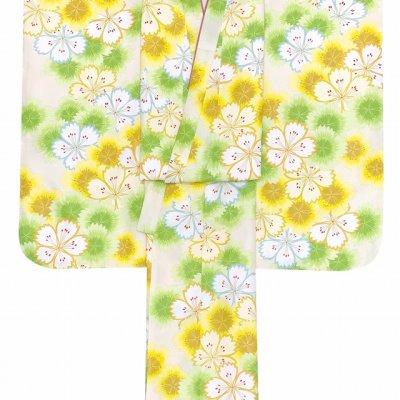 画像3: 七五三 着物 7歳 2021年新作 女の子用 小紋柄 四つ身 子供着物(合繊) 襦袢付き【黄色系、なでしこ重ね】
