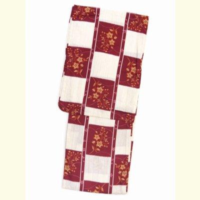 画像2: レディース浴衣 特選 綿麻の浴衣(フリーサイズ) 単品【白&赤 桔梗】