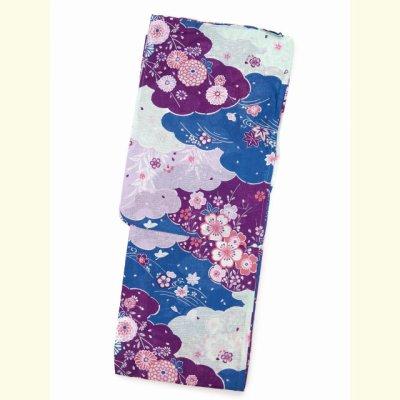 画像2: 女性用 綿麻浴衣 フリーサイズ【青系 菊と桜に雲】