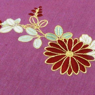 画像3: 本麻 刺繍入り 半幅帯 浴衣帯 小袋帯【薄紫 菊】
