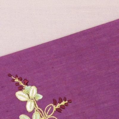 画像4: 本麻 刺繍入り 半幅帯 浴衣帯 小袋帯【薄紫 菊】