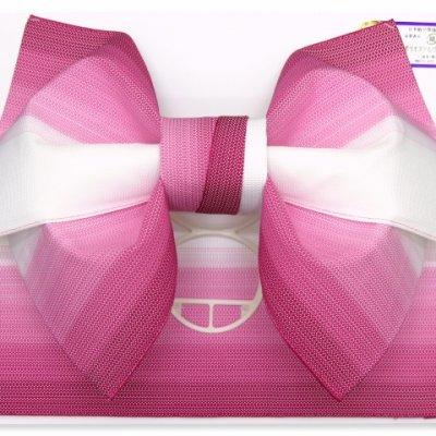 画像2: 浴衣帯 グラデーション織りの浴衣用作り帯 日本製【段ボカシ、ワイン】
