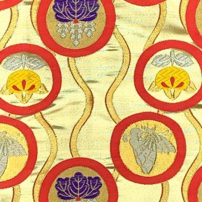 画像2: 七五三 着物 十三参りに 子供着物用金襴袋帯【ゴールド、立涌に紋】