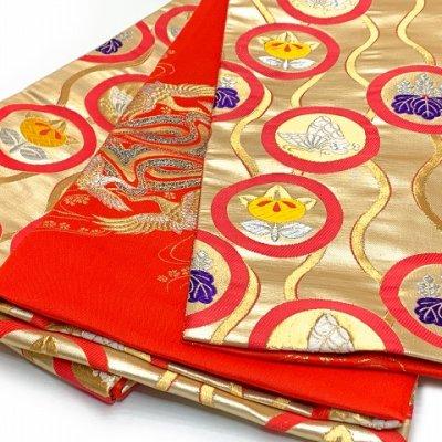 画像3: 七五三 着物 十三参りに 子供着物用金襴袋帯【ゴールド、立涌に紋】