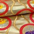 画像4: 七五三 着物 十三参りに 子供着物用金襴袋帯【ゴールド、立涌に紋】 (4)