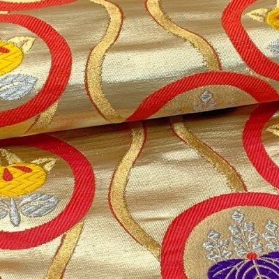 画像4: 七五三 着物 十三参りに 子供着物用金襴袋帯【ゴールド、立涌に紋】