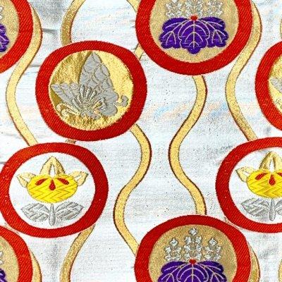 画像2: 七五三 着物 十三参りに 子供着物用金襴袋帯【シルバー、立涌に紋】