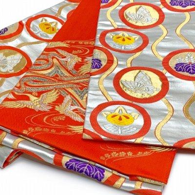 画像3: 七五三 着物 十三参りに 子供着物用金襴袋帯【シルバー、立涌に紋】