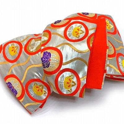画像5: 七五三 着物 十三参りに 子供着物用金襴袋帯【シルバー、立涌に紋】