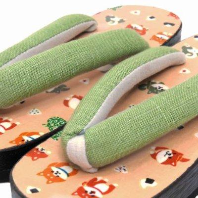 画像2: レディース 桐下駄 フリーサイズ かわいいラミネート・プリント柄の台【シャーベットオレンジ 豆柴】