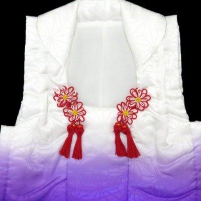 画像4: ≪七五三 セール!≫ 七五三 3歳女の子用 日本製のぼかし染めの被布コート ポリエステル (単品)【紫、麻の葉】