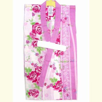 画像2: 子供浴衣 変り織りの女の子浴衣 100サイズ【桃紫、薔薇とレース】