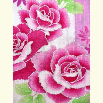 画像3: 子供浴衣 変り織りの女の子浴衣 100サイズ【桃紫、薔薇とレース】