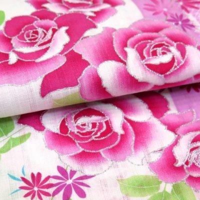 画像4: 子供浴衣 変り織りの女の子浴衣 100サイズ【桃紫、薔薇とレース】