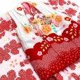 画像6: 七五三 着物 3歳 フルセット 女の子の被布コートセット 合繊 日本製 【白x赤 白系、鈴】