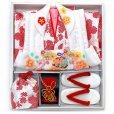 画像10: 七五三 着物 3歳 フルセット 女の子の被布コートセット 合繊 日本製 【白x赤 白系、鈴】