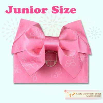 画像1: ジュニア用浴衣帯 女の子 作り帯(結び帯)【ピンク、蝶】