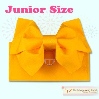 画像1: ジュニア用浴衣帯 女の子 作り帯(結び帯)【黄色、蝶】