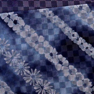 画像3: 浴衣帯 女性用 博多織 本袋帯 絞り調の半幅帯 単品【青系 花柄】