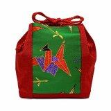 巾着 七五三 3歳 女の子 金襴生地の布巾着 単品【赤x緑、折り鶴】