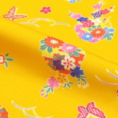 画像3: <七五三セール!> 3歳 女の子 総柄の子供着物 合繊 単品【黄色 牡丹に雪輪】
