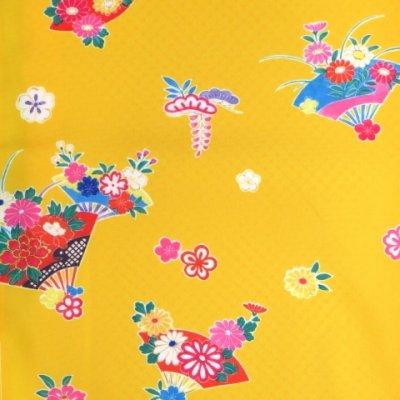 画像2: 七五三 着物 3歳 女の子 総柄の子供着物 合繊 単品【黄色 牡丹に扇子】
