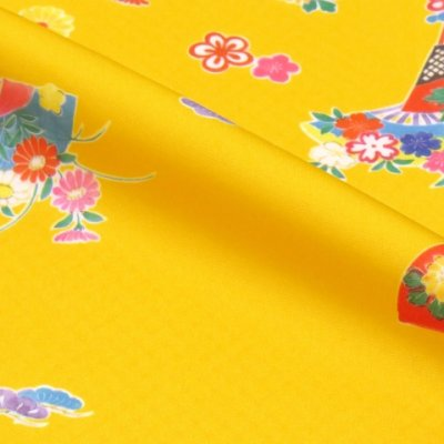 画像3: 七五三 着物 3歳 女の子 総柄の子供着物 合繊 単品【黄色 牡丹に扇子】