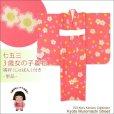 画像1: <七五三セール!> 3歳 女の子 総柄の子供着物 単品(合繊)【ピンク系 桜と梅】 ※襦袢付き (1)