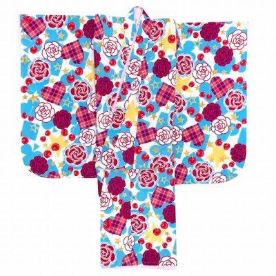 画像2: 七五三 着物 3歳 女の子 ポップでキュートな柄の子供着物 合繊 襦袢付き【水色系、薔薇とハート・チェリー】