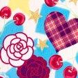 画像3: 七五三 着物 3歳 女の子 ポップでキュートな柄の子供着物 合繊 襦袢付き【水色系、薔薇とハート・チェリー】 (3)
