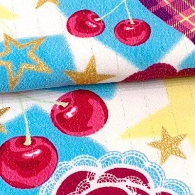 画像4: 七五三 着物 3歳 女の子 ポップでキュートな柄の子供着物 合繊 襦袢付き【水色系、薔薇とハート・チェリー】