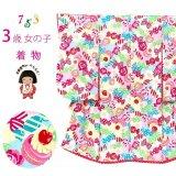 七五三 着物 3歳 女の子 ポップでキュートな柄の子供着物 合繊 襦袢付き【水色xピンク、お菓子とリボン】