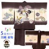 七五三 男の子 着物 5歳 日本製 正絹 手描き友禅 金駒刺繍 羽織 着物 アンサンブル【茶系、鷹】