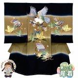 お宮参り 着物 男の子 正絹 刺繍入り 日本製 赤ちゃん お祝い着 初着 産着 襦袢付き【黒x茶系、鷹と帷子】