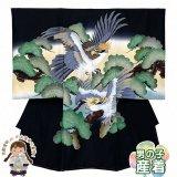 お宮参り 着物 男の子 正絹 刺繍入り 日本製 赤ちゃん お祝い着 初着 産着 襦袢付き【黒地、親子鷹】