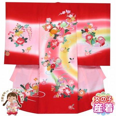 画像1: お宮参り 着物 女の子 刺繍入り 赤ちゃんのお祝い着 (初着 産着) 正絹【赤ぼかし おしどり】