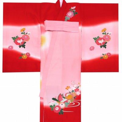 画像2: お宮参り 着物 女の子 刺繍入り 赤ちゃんのお祝い着 (初着 産着) 正絹【赤ぼかし おしどり】