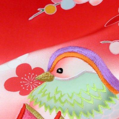 画像5: お宮参り 着物 女の子 刺繍入り 赤ちゃんのお祝い着 (初着 産着) 正絹【赤ぼかし おしどり】