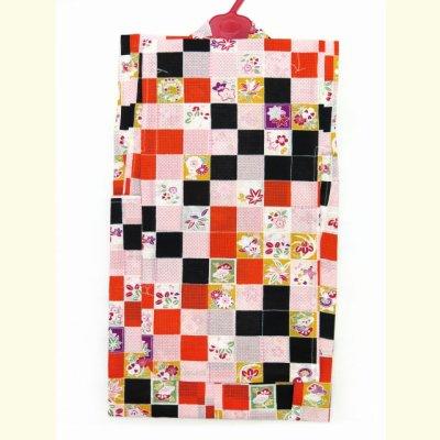 画像2: 子供浴衣 女の子 市松柄のこども浴衣 130cm【赤、黒】