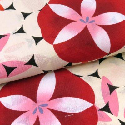 画像4: レディース 浴衣 単品 レトロ モダン ゆったりサイズ 女性浴衣 BL【赤 朝顔】