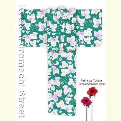 画像2: レディース浴衣 小柄な方向け 女性用浴衣(Sサイズ)【緑 三つ葉】