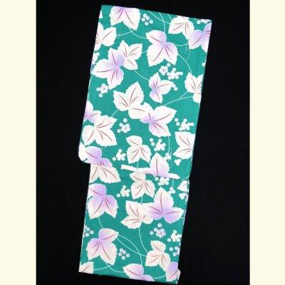 画像3: レディース浴衣 小柄な方向け 女性用浴衣(Sサイズ)【緑 三つ葉】