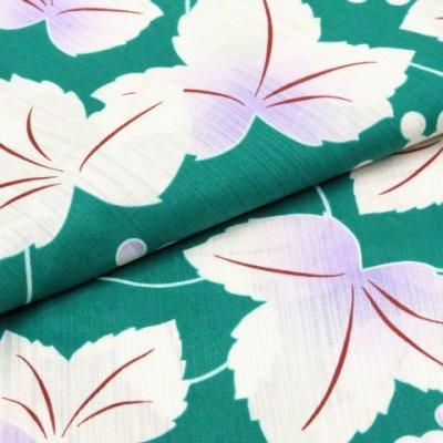 画像5: レディース浴衣 小柄な方向け 女性用浴衣(Sサイズ)【緑 三つ葉】