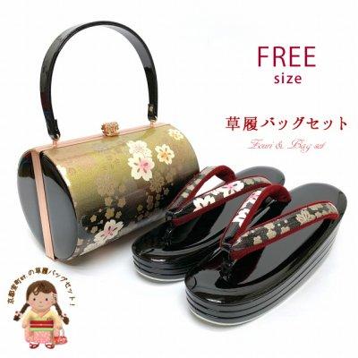 画像1: 草履バッグセット 成人式 お正月 振袖に 4枚芯の草履(ヒール6.5cm) 和装バッグセット フリーサイズ【金x黒、桜】