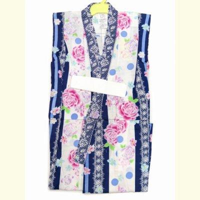 画像2: 子供浴衣 女の子用浴衣 100サイズ【紺&白、レースにバラ】