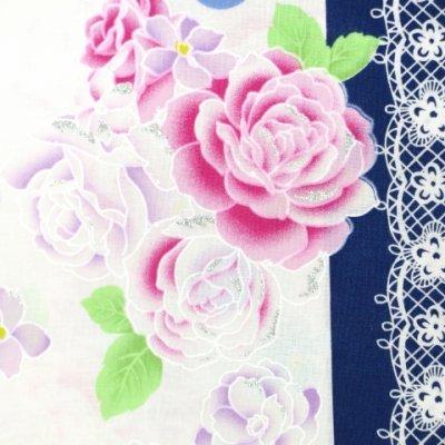 画像3: 子供浴衣 女の子用浴衣 100サイズ【紺&白、レースにバラ】